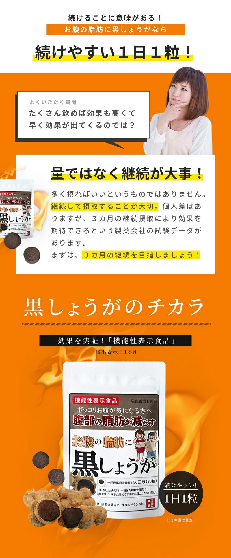 黒しょうがサプリメントは、1日1粒でお腹の脂肪対策!